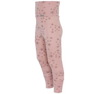 Kid's Bamboo Long High Waist Leggings With Cuffs Little flowers_Wholepatterned side