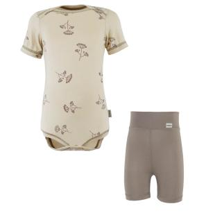 Kid's Bamboo Set Short Sleeve Bodysuit+High Waist Thin Shorts Umbels_Brown