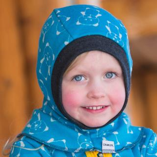 Kid's Merino 1layer Balaclava Teddy turquoise Graphite