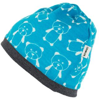 Kid's Merino 1layer Beanie Teddy turquoise Graphite
