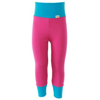 Kid's Merino High Waist Warm Leggings Pink Turquoise