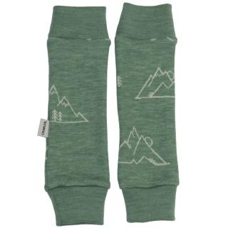 Kid's Merino Leg Warmers for scarves and stretchers Mountains olive Olive