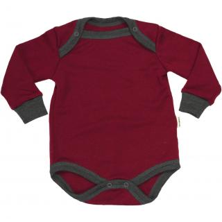 Kid's Merino Long Sleeve Bodysuit Marsala Graphite