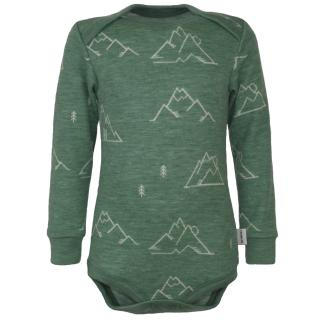 Kid's Merino Long Sleeve Bodysuit Mountains olive