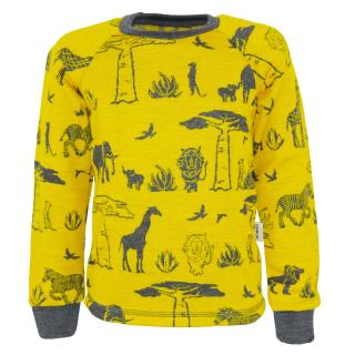 Kid's Merino Long Sleeve Round Neck T-shirt Africa Graphite
