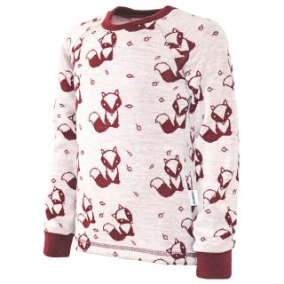 Kid's Merino Long Sleeve Round Neck T-shirt Marsala fox - cream Marsala 2