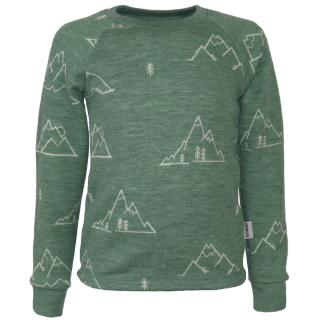 Kid's Merino Long Sleeve Round Neck T-shirt Mountains olive