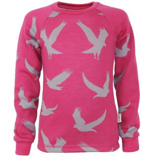Kid's Merino Long Sleeve Round Neck T-shirt Eagle pink Pink