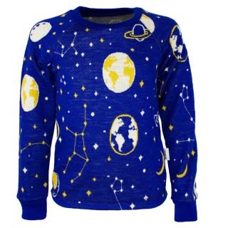 Kid's Merino Long Sleeve Round Neck T-shirt Universe Blue