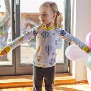 Kid's Merino Long Sleeve Round Neck Thin T-shirt Balloons Yellow