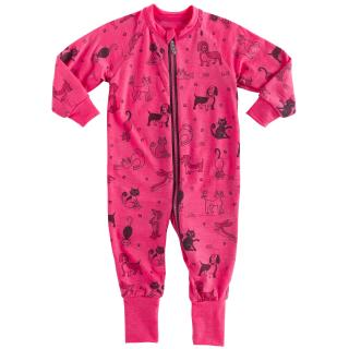 Kid's Merino Long Sleeve Thin Jumpsuit Cats Pink