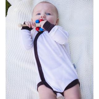 Kid's Merino Long Sleeve Thin Wrap Bodysuit Cream Brown