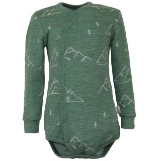 Kid's Merino Long Sleeve Wrap Bodysuit Mountains olive Olive