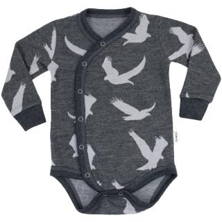 Kid's Merino Long Sleeve Wrap Bodysuit Eagle graphite Graphite