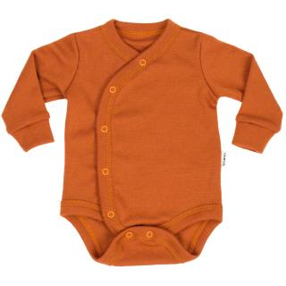 Kid's Merino Long Sleeve Wrap Bodysuit Rusty_Rusty
