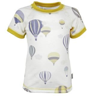 Kid's Merino Short Sleeve Round Neck Thin T-shirt Balloons Yellow