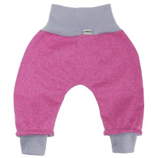 Kid's trousers for scarves and stretchers softshell/merino Streaky pink_Grey
