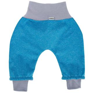 Kid's trousers for scarves and stretchers softshell/merino Streaky turquoise_grey