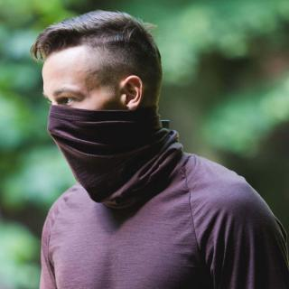 Men's Merino 1layer Thin Neck Tube Brown On the nose