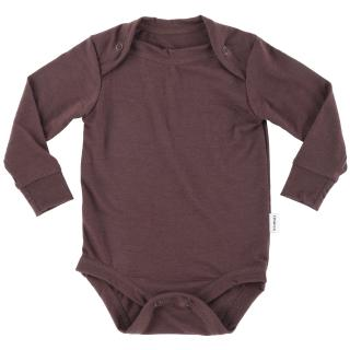 Kid's Merino Long Sleeve Thin Bodysuit Brown