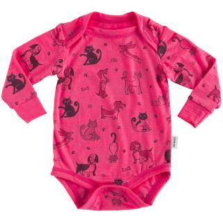 Kid's Merino Long Sleeve Thin Bodysuit Cats Pink