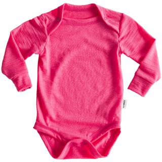 Kid's Merino Long Sleeve Thin Bodysuit Pink
