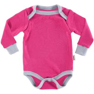 Kid's Merino Long Sleeve Bodysuit Pink Grey
