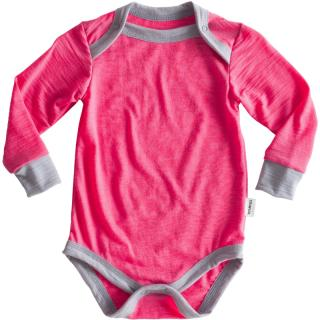 Kid's Merino Long Sleeve Thin Bodysuit Pink Grey