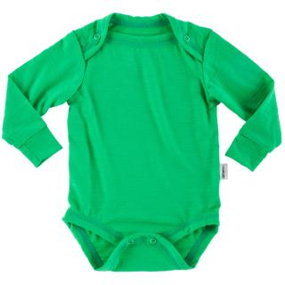 Kid's Merino Long Sleeve Thin Bodysuit Green