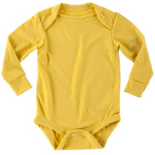 Kid's Merino Long Sleeve Thin Bodysuit Yellow