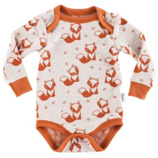 Kid's Merino Long Sleeve Bodysuit Rusty fox cream Rusty
