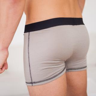 Men's Merino Thin Boxer Briefs Grey From the side