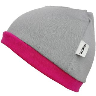 Kid's Merino 1layer Beanie Grey Pink