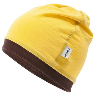 Kid's Merino 1layer Thin Beanie Yellow Brown