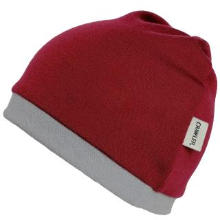 Kid's Merino 2layer Reversible Beanie Marsala Grey