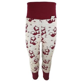 Kid's Merino High Waist Warm Leggings Marsala fox - cream Marsala