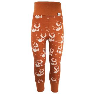 Kid's Merino High Waist Warm Leggings Cream fox - rusty Rusty