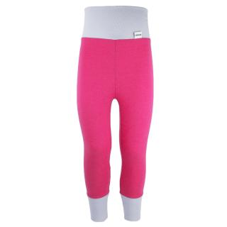 Kid's Merino High Waist Warm Leggings Pink Grey
