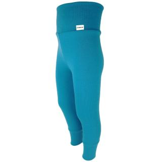 Kid's Merino High Waist Warm Leggings Turquoise Side