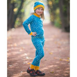 Kid's Merino Set Same Color Polo Neck Sweater Warm Leggings Teddy turquoise Mango From the side