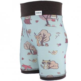 Kid's Merino High Waist Thin Shorts Animals blue Brown Side