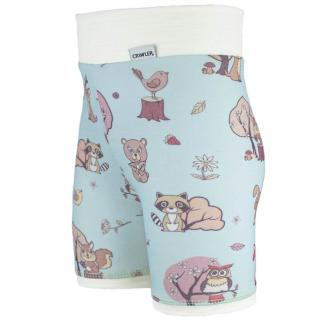 Kid's Merino High Waist Thin Shorts Animals blue Cream Side