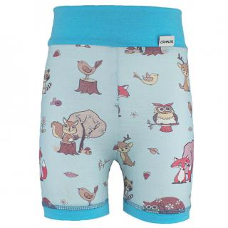 Kid's Merino High Waist Thin Shorts Animals blue Turquoise