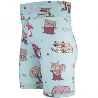 Kid's Merino High Waist Thin Shorts Animals blue Wholepatterned Side