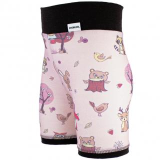 Kid's Merino High Waist Thin Shorts Animals pink Brown Side