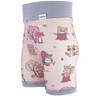 Kid's Merino High Waist Thin Shorts Animals pink Grey Side