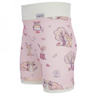 Kid's Merino High Waist Thin Shorts Animals pink Cream Side
