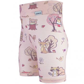 Kid's Merino High Waist Thin Shorts Animals pink Wholepatterned Side