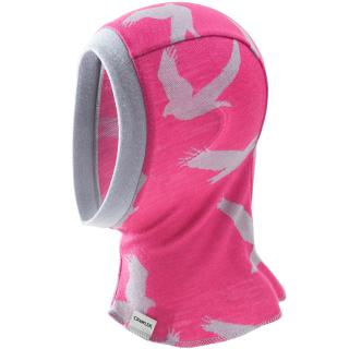 Kid's Merino 1layer Balaclava Eagle pink Grey