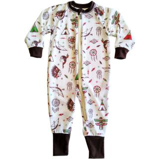 Kid's Merino Long Sleeve Thin Jumpsuit Indians cream Brown